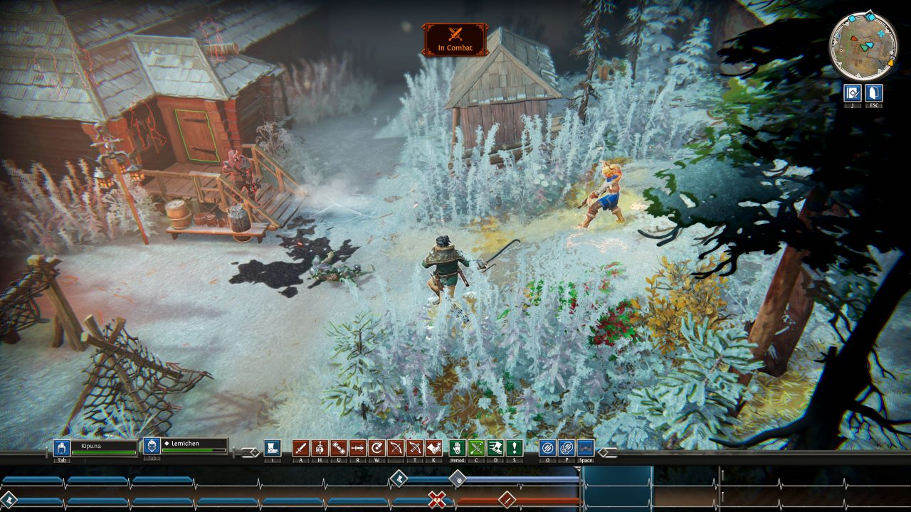 Iron Danger screenshot showing Kipuna casting a spell in a snowy forest, with a double heartbeat track at the bottom of the screen.