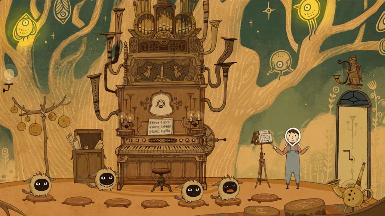 A character composes music in a strange, steampunk-like room filled with glowing birds and musical instruments in LUNA - The Shadow Dust.