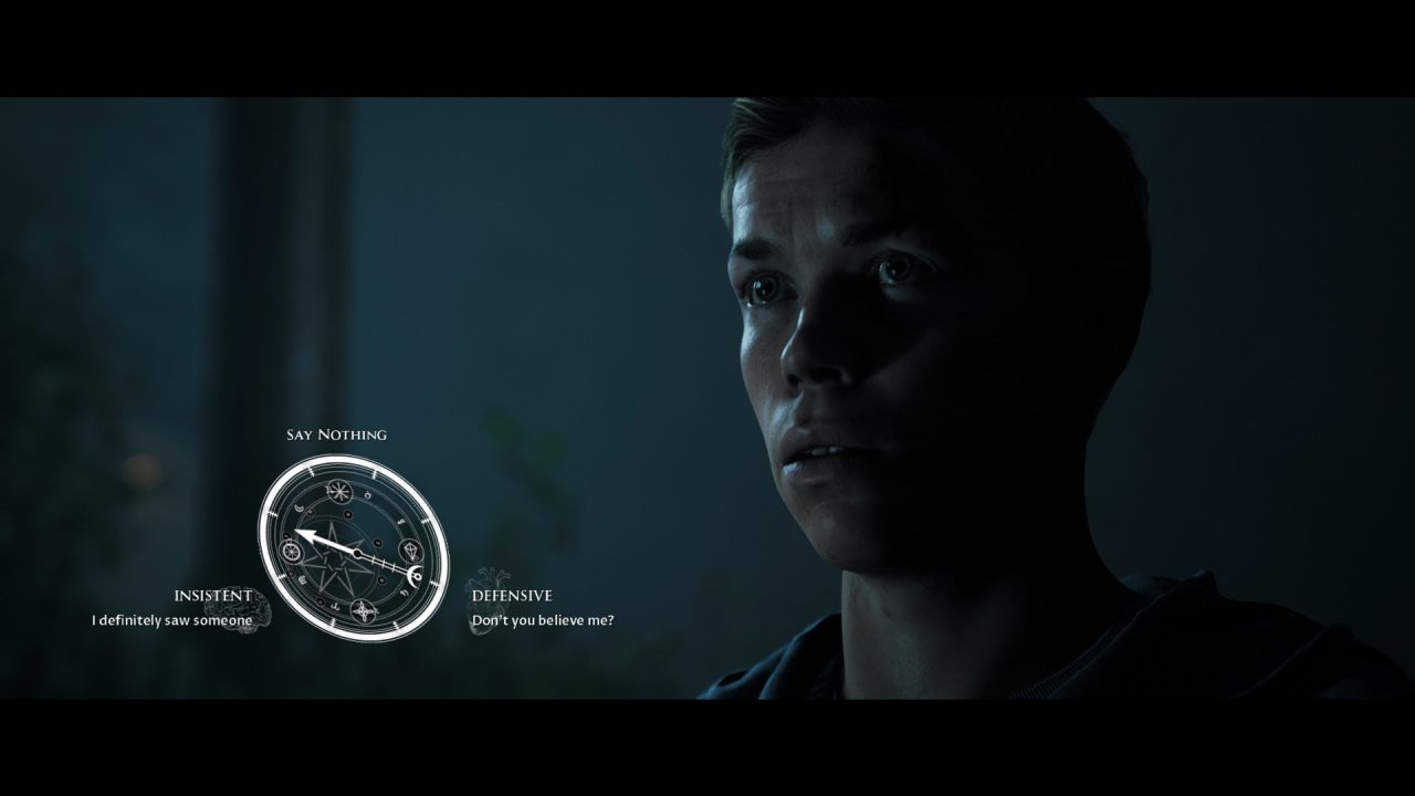 A white, glowing dial indicates how the young man is going to respond (or not): Defensively? Insistent?
