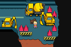 Lucas and Boney walking across a road with construction around in Mother 3.