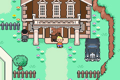 Lucas and Boney outside the Town Hall of Tazmily in Mother 3