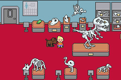 Mother 3 screenshot of Lucas at the museum with dinosaur skeletons on display around him.