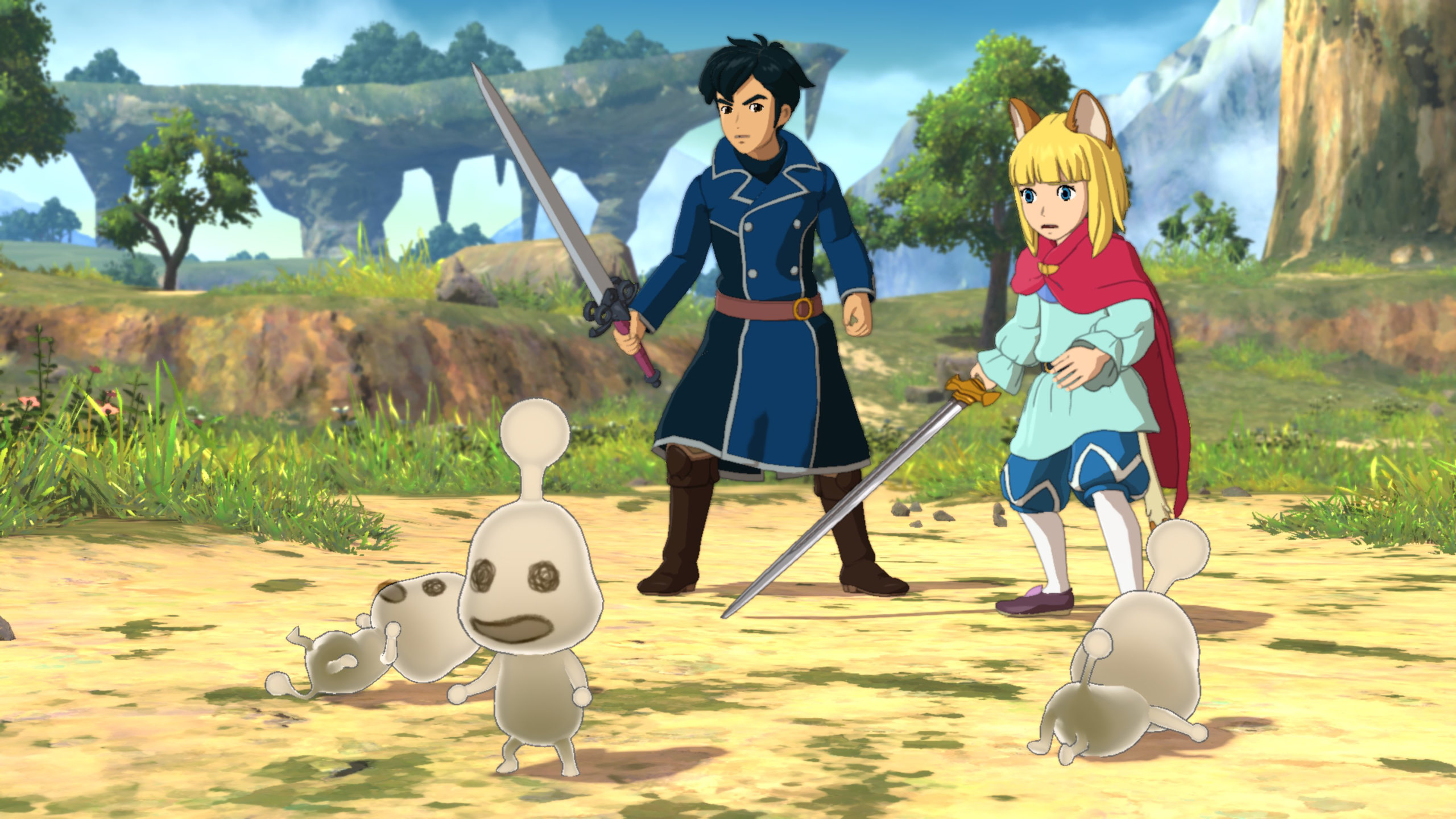 The heroes of Ni no Kuni II stand upon a grassy field, with pale spirits dancing in front of them that have squiggles for eyes.