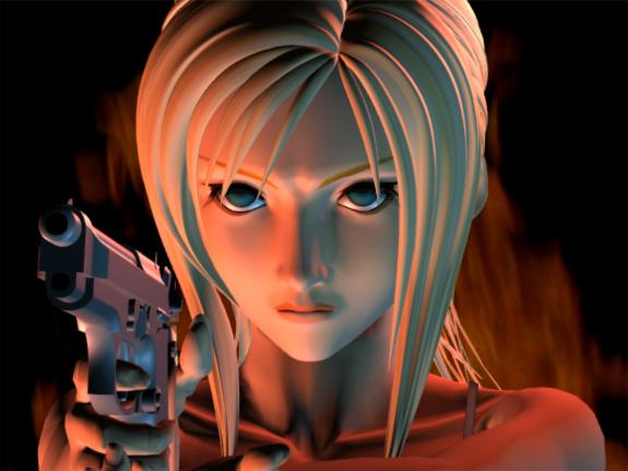 A screenshot from Parasite Eve of Aya pointing a gun.