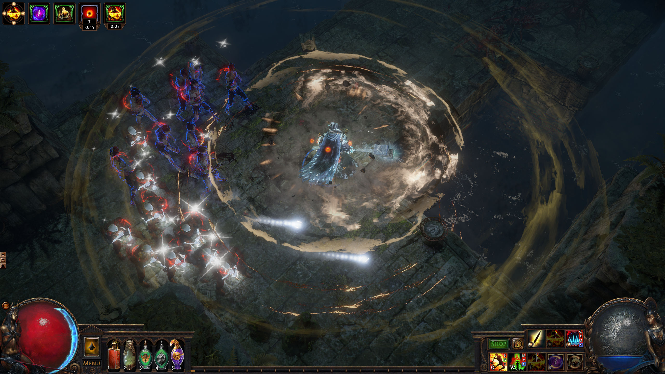 A warrior uses a flashy skill in Path of Exile, developed by Grinding Gear Games.