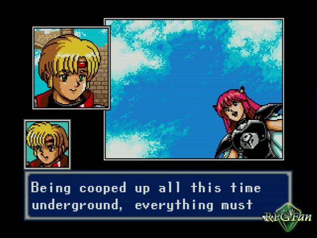 A paneled anime cutscene featuring both dialogue and two of the main characters.