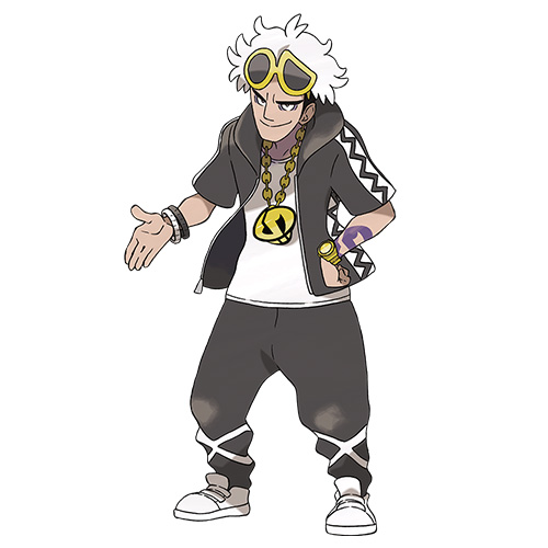 Guzma of Team Skull is shown in a portrait.
