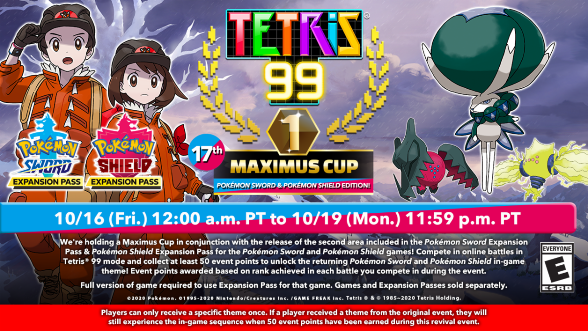 Promotional Ad For Pokemon Sword And Shield Crown Tundra DLC Event in Tetris 99