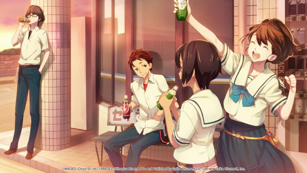 Four high schoolers lounge outside the school building with soda as the sun starts to set; the student on the right raising her soda triumphantly.