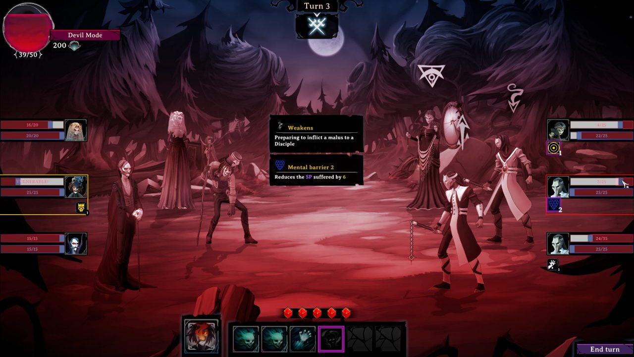 A tinted-red battlefield in Rogue Lords.