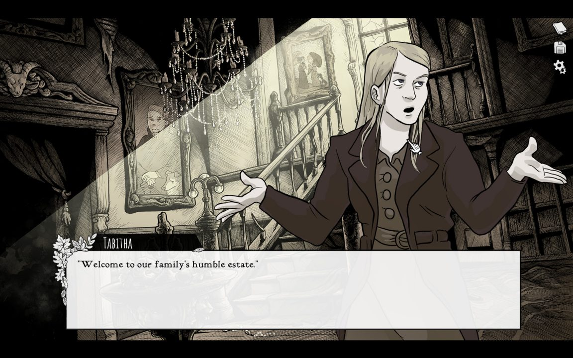 Scarlet Hollow screenshot: a fancy mansion interior, with a blonde character introducing the property.
