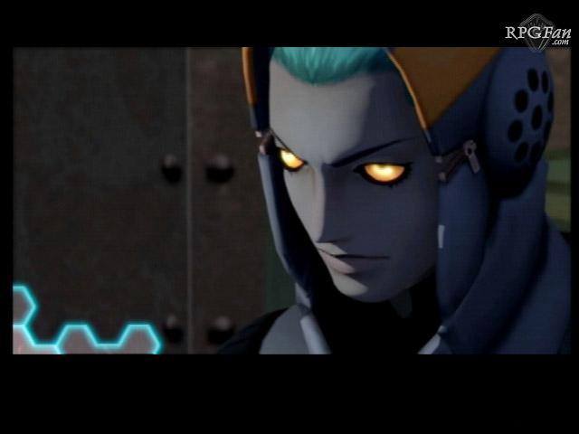 A screenshot of a character with dark gray skin and glowing amber eyes in Shin Megami Tensei: Digital Devil Saga 2.