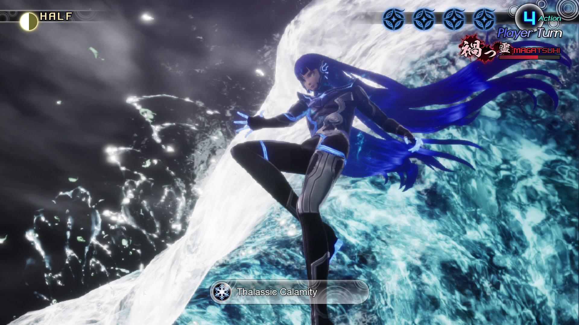 The Nahobino, protagonist of Shin Megami Tensei V, rides a blue and white tidal wave.