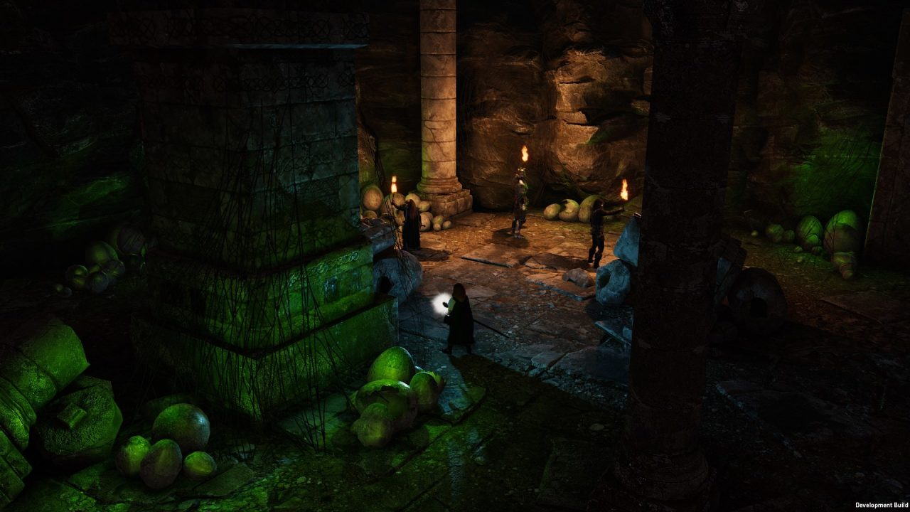 Characters navigate a dangerous, dimly-lit dungeon in Solasta: Crown of the Magister.