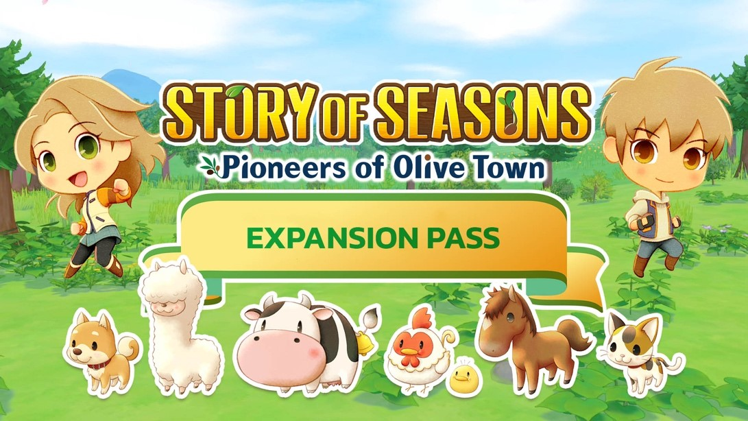 Story of Seasons Pioneers of Olive Town Expansion Pass Artwork featuring male and female farmers and a lineup of cute animals.