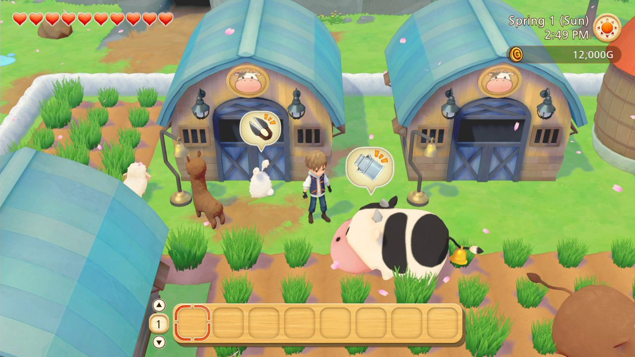 The player is surrounded by barns and fodder. A sheep, brown alpaca, rabbit, Holstein cow, and brown cow are roaming around.