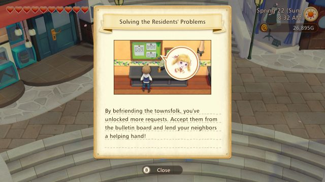 Story of Seasons: Pioneers of Olive Town Screenshot of a player character learning that befriending townsfolk unlocks character requests at the local bulletin board.