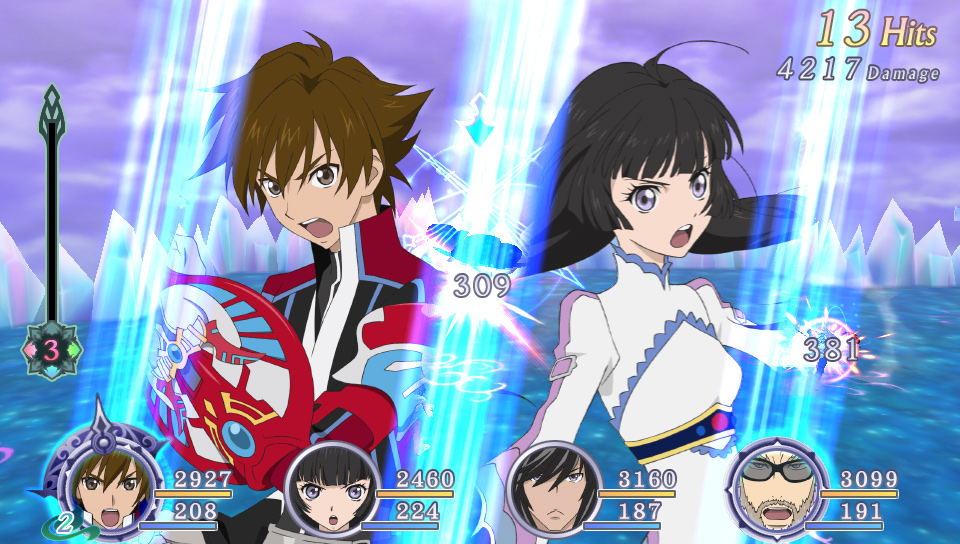 A screenshot from battle in Tales of Hearts R with two lead characters' portraits shouting battle cries.