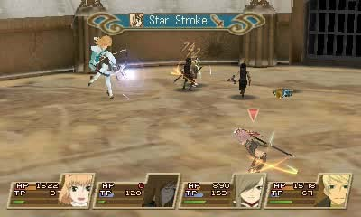 A battle sequence in Tales of the Abyss