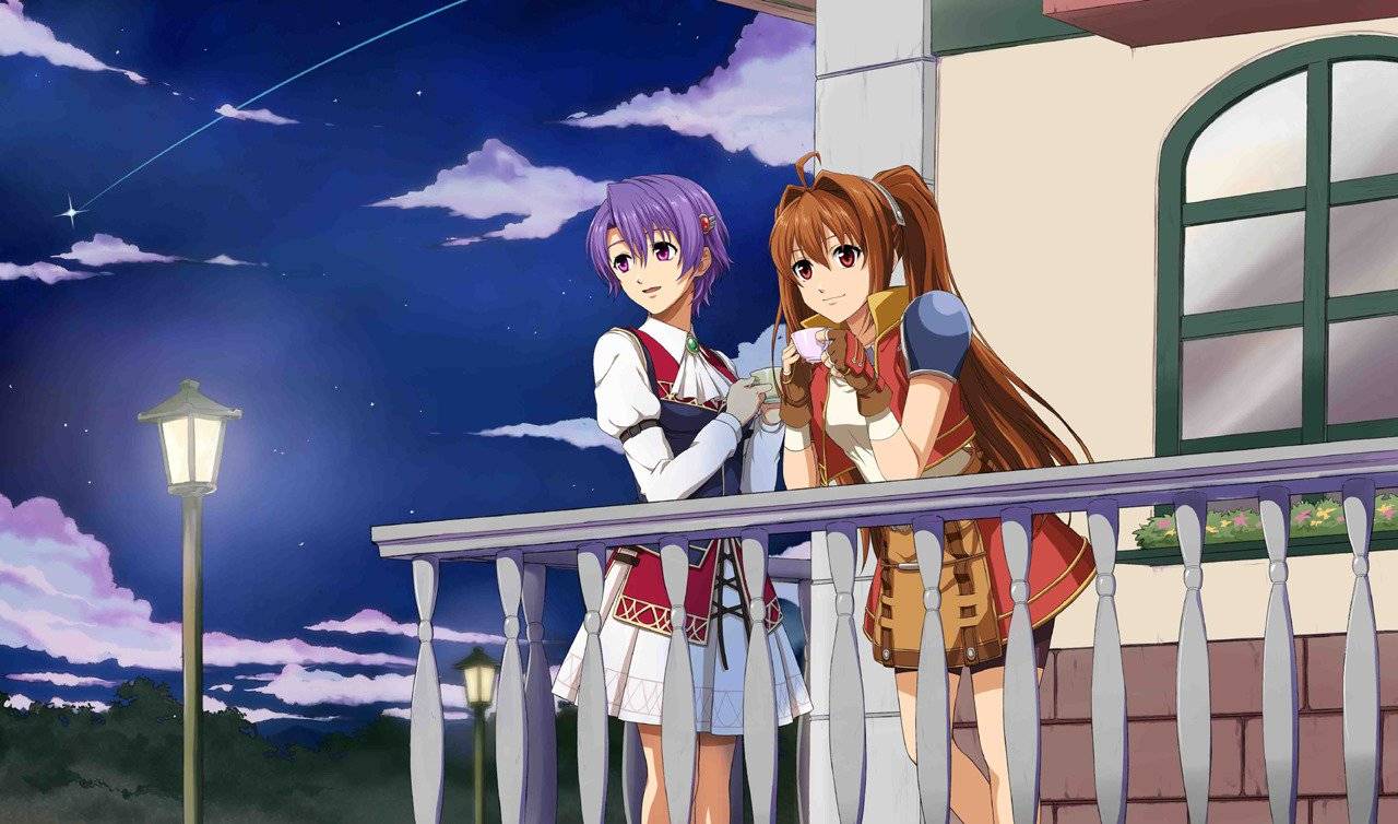 The Legend of Heroes: Trails in the Sky FC Evolution artwork of two women standing on a balcony, looking hopefully into the distance.