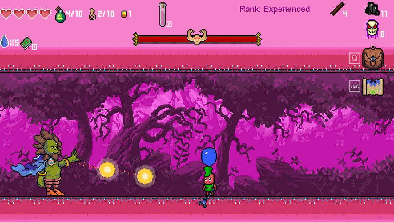 The hero stands pensively with a blue balloon over his head as a green monster fires light orbs against a purplish wooded background in Throne of Fate.