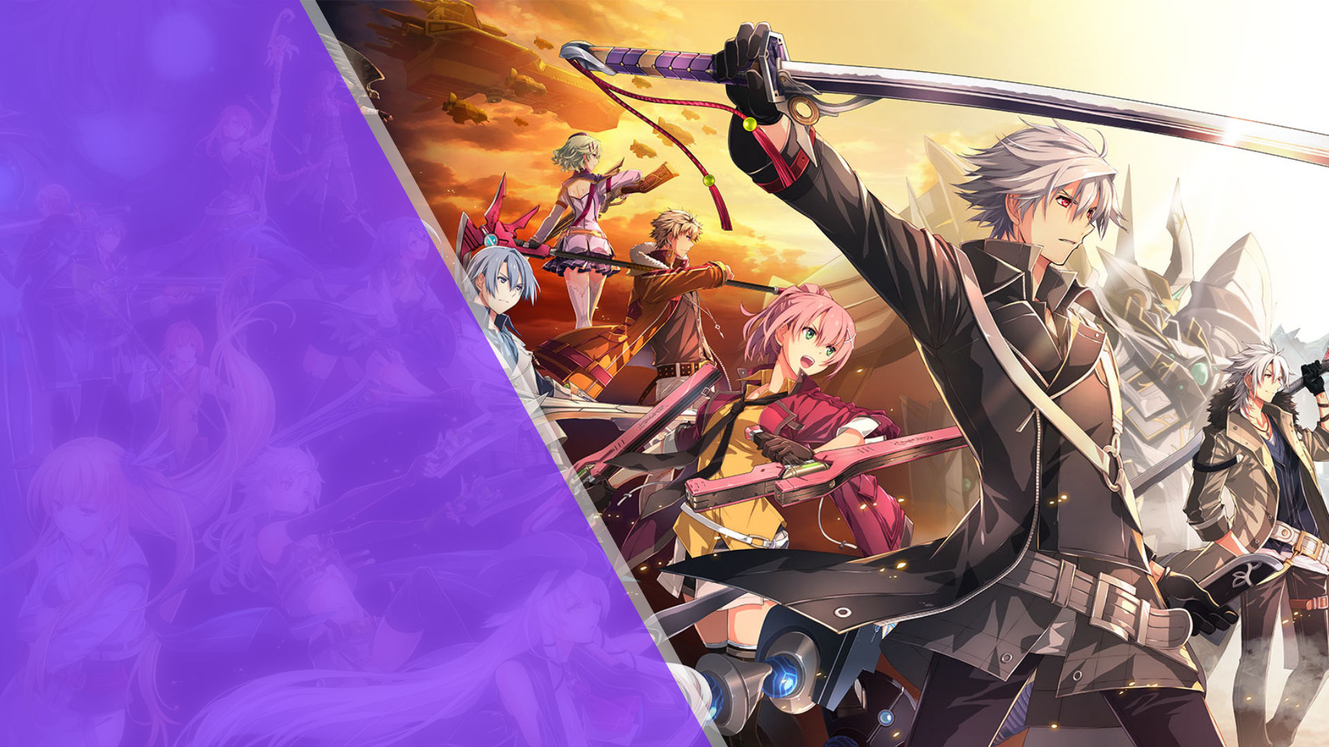 Twitch purple banner with the Cold Steel IV cast on the right brandishing their weapons.