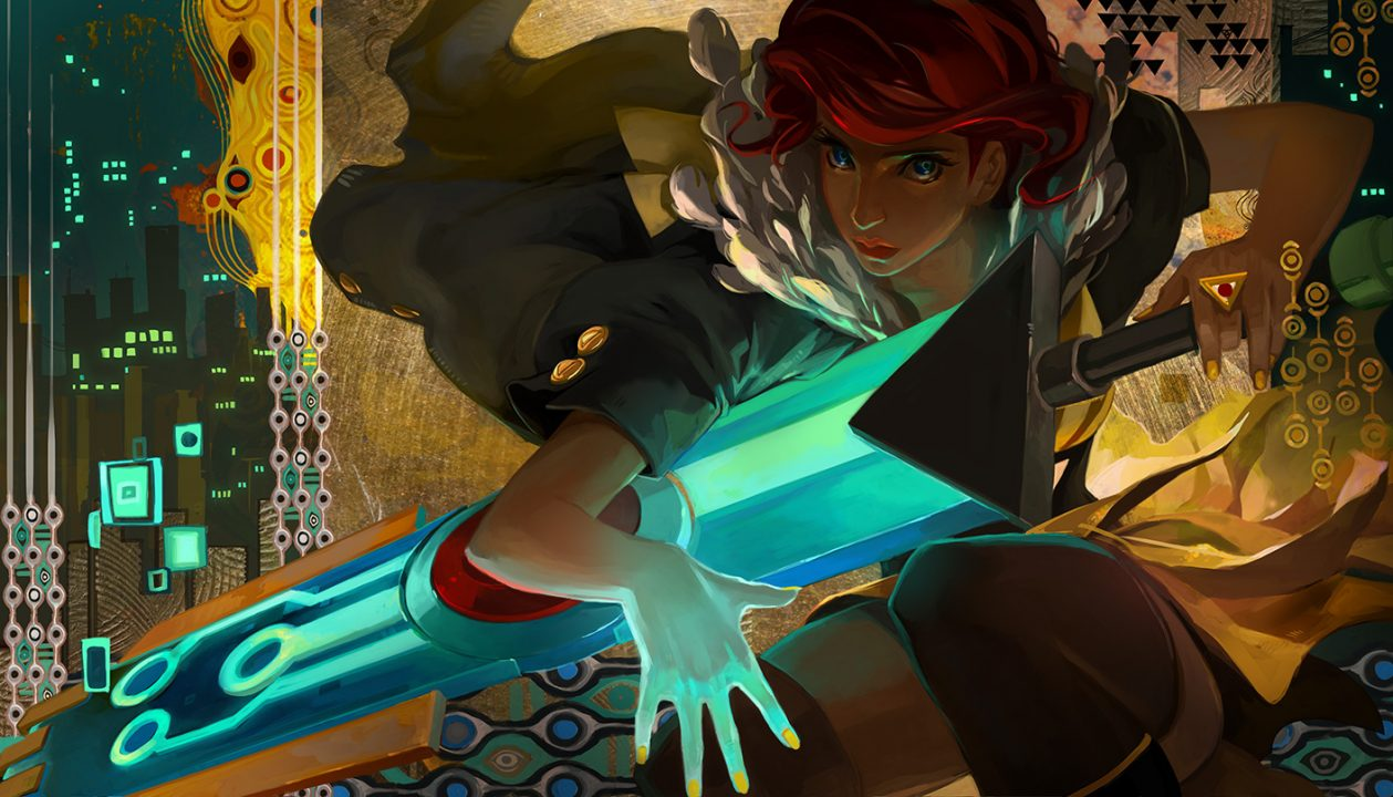 Transistor screenshot where Red flourishes The Transistor, keeping a hand over it protectively.