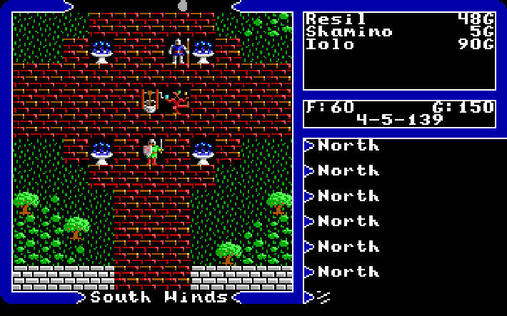 Ultima V screenshot showing a top-down view of a pair of knights in a courtyard on a brick path, as a jester juggles near a well.