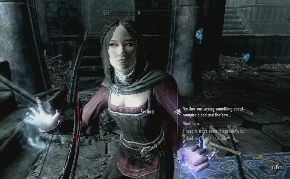 You are presented with dialogue options while facing Serana.