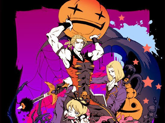 The three vampires of Shadow Hearts are holding and surrounding by pumpkins.
