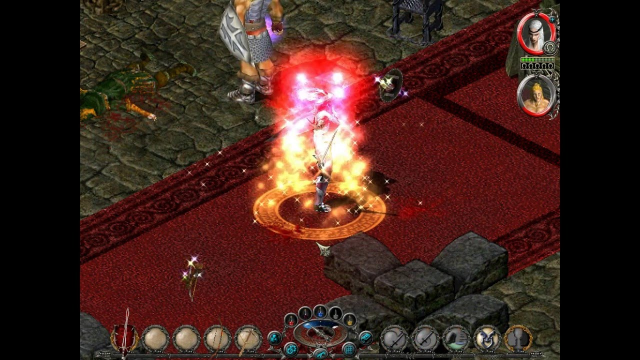 A vampire is surrounded by an explosion in battle.