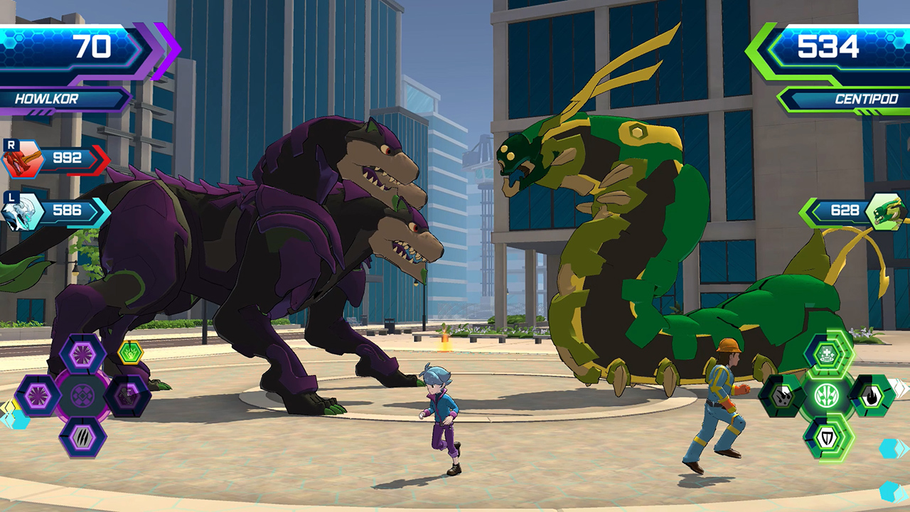 Bakugan: Champions of Vestroia screenshot of a purple Cerberus-like monster battling a large green centipede monster in a modern city.