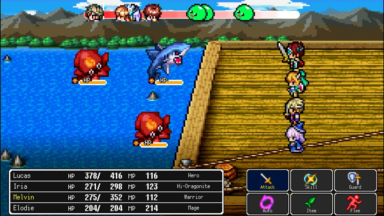 A classic turn-based battle in Dragon Lapis.
