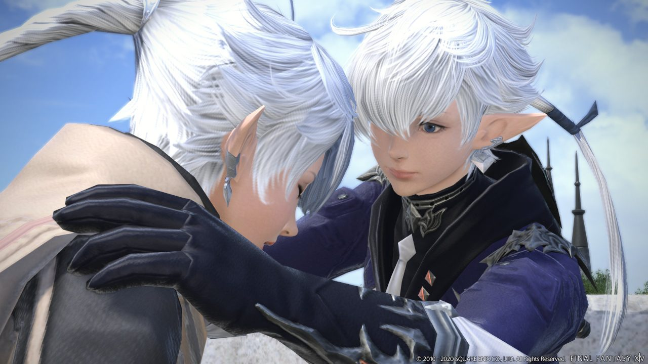 Screenshot From Final Fantasy XIV Shadowbringers Featuring Alisae And Alphinaud Being Bros