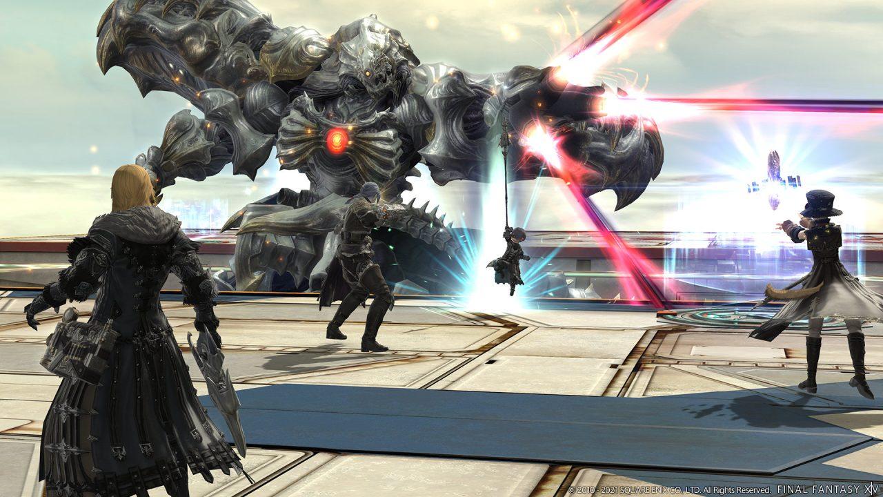 Final Fantasy XIV Shadowbringers screenshot of players taking on Diamond Weapon.