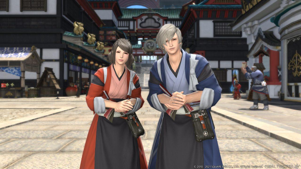 Final Fantasy XIV Shadowbringers screenshot of two Hyur wearing Kugane garbs in Kugane