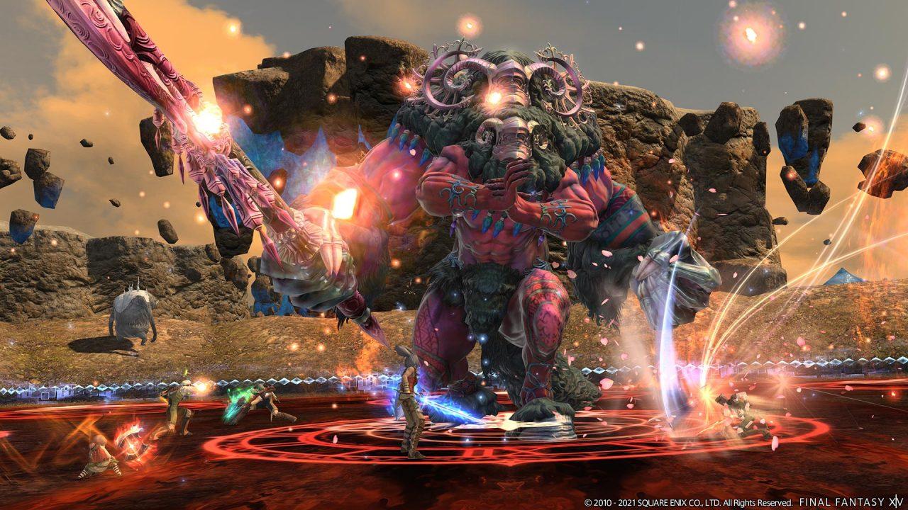 Final Fantasy XIV Shadowbringers screenshot of the Esper Belias, the Gigas.