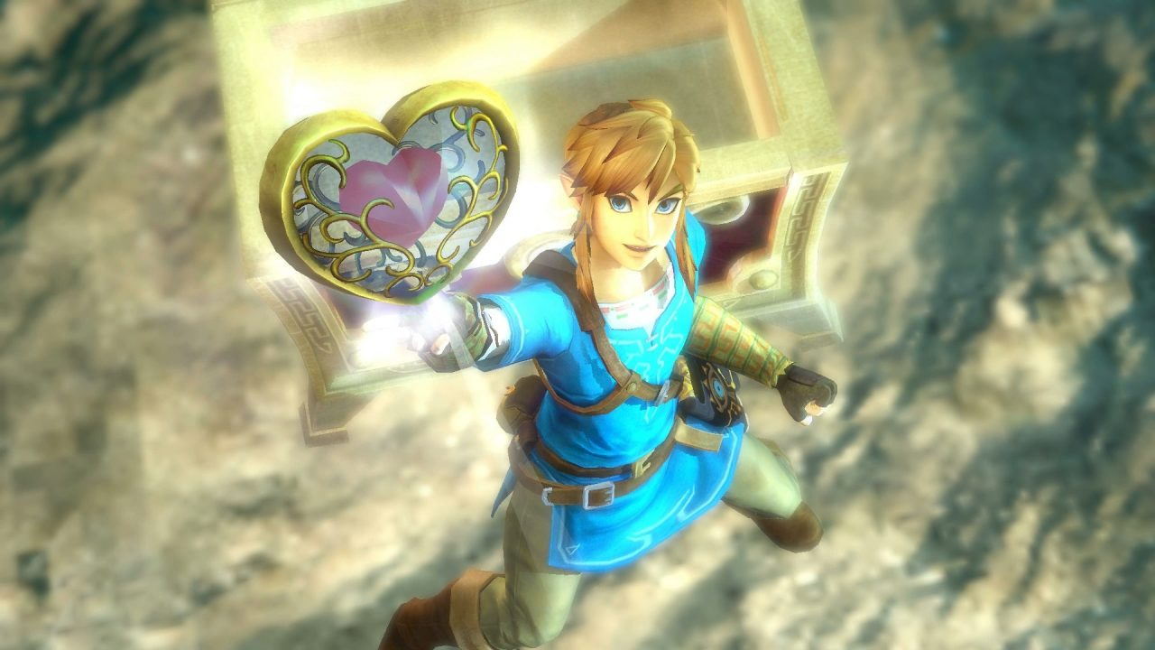 Link is jubilant in his trademark blue outfit as he elevates a Heart Container into the air in Hyrule Warriors: Age of Calamity.