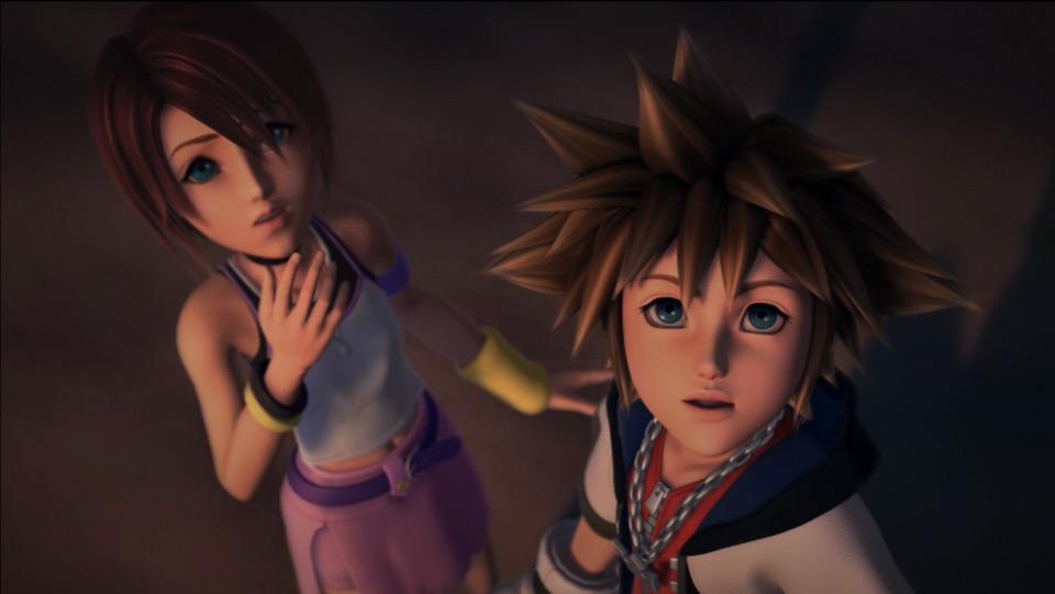 Sora and Kairi look above in a CG cutscene from Kingdom Hearts.