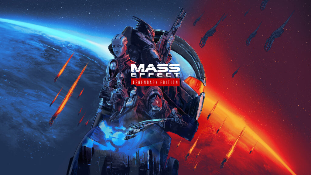 A collection of famous characters from the Mass Effect trilogy can be seen high above a planet representing the blue paragon and red renegade sides of Mass Effect's morality system.