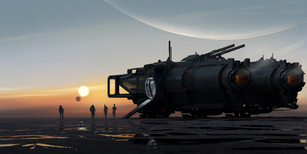A space vehicle and unidentified characters from a new Mass Effect project.