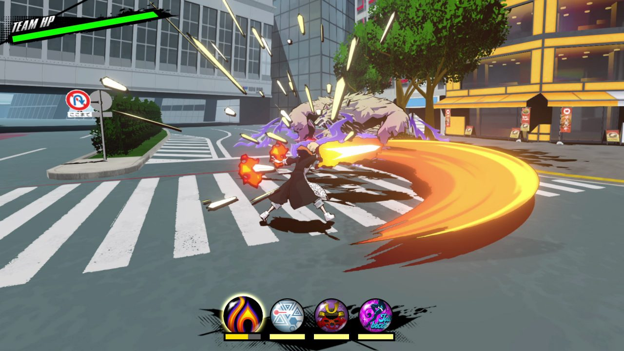 Combat screenshot of NEO: The World Ends With You with the player character making an exaggerated (and colorful) sweeping arc attack at an enemy in a city setting.