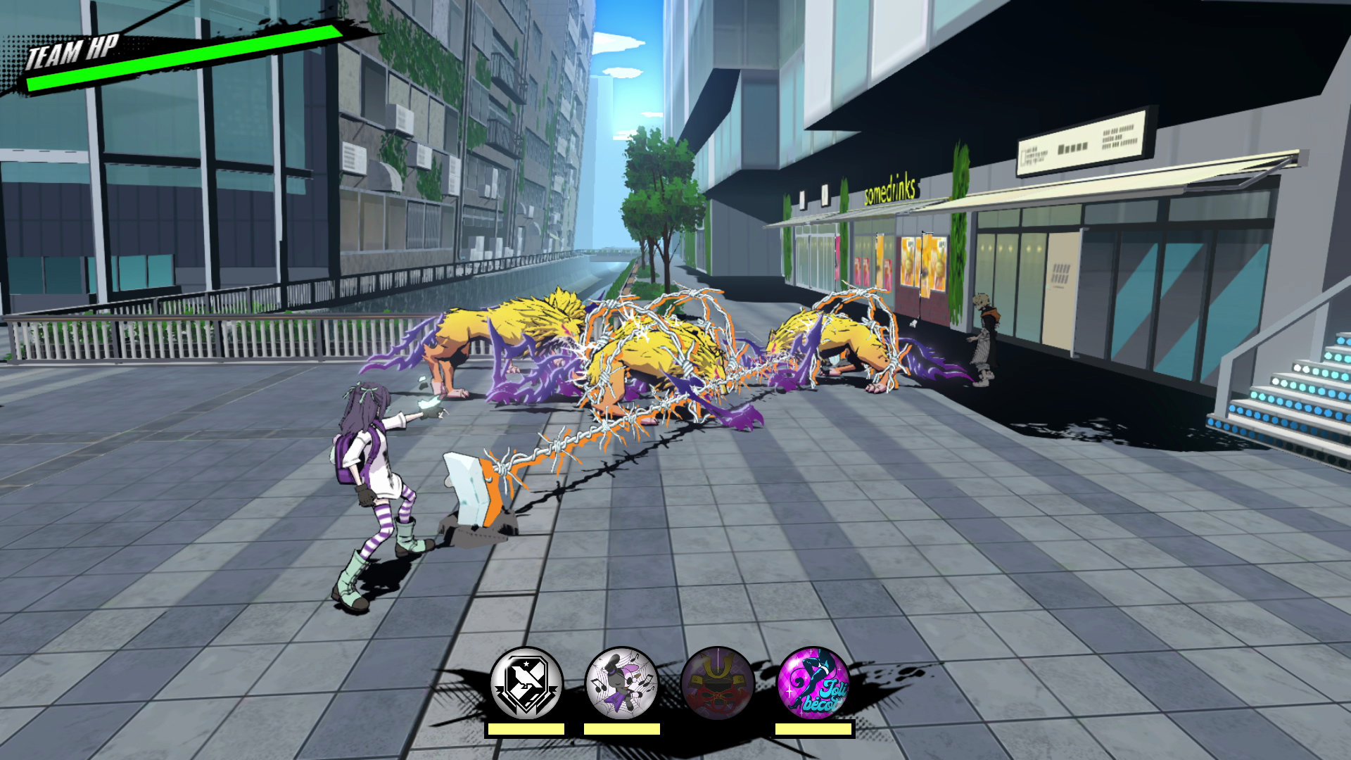 Nagi unleashes her ShoGun Void Wire Trip attack on several Noise in Neo: The World Ends With You.