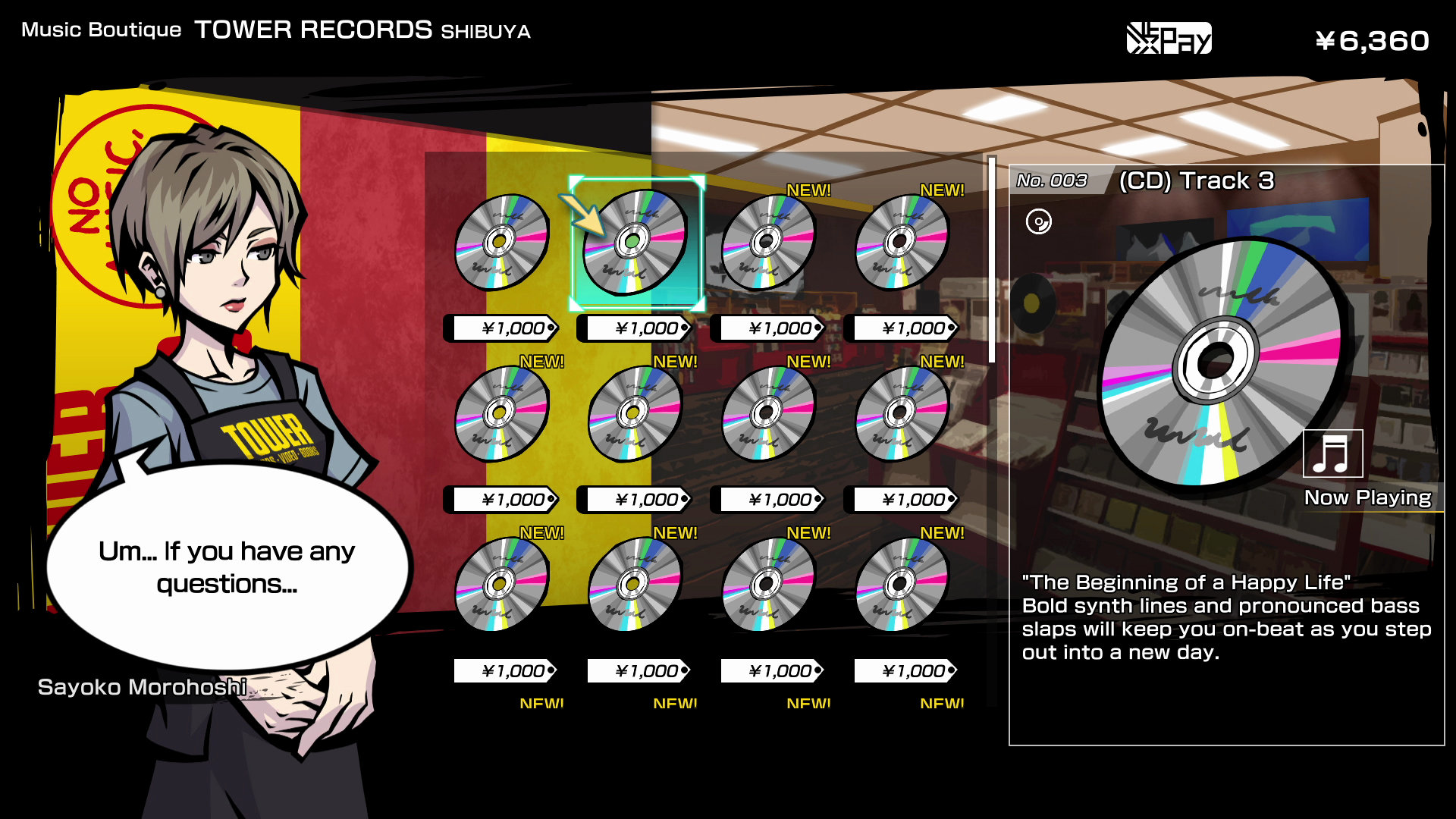 Tune into your favorite tracks by purchasing CDs from the Music Boutique in Neo: The World Ends With You.