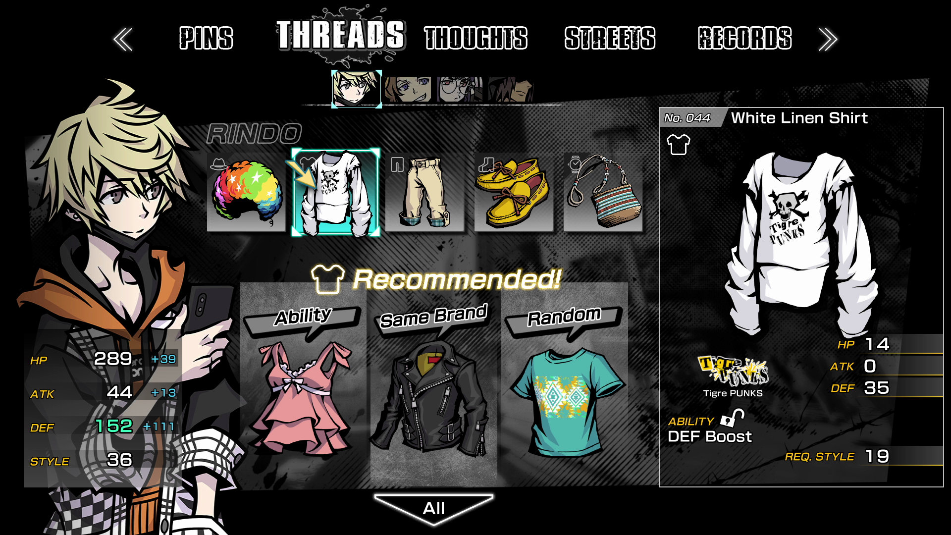 The gear menu will allow players to outfit their team with the latest in trendy streetwear in Neo: The World Ends With You.