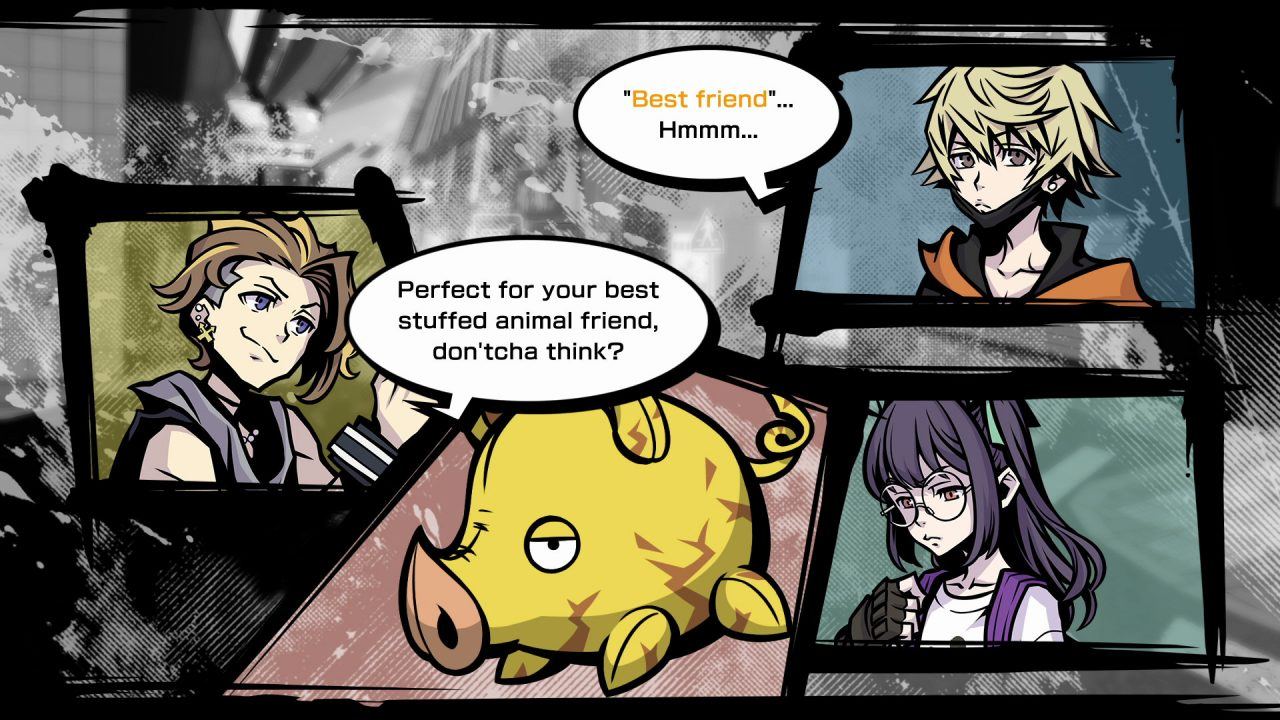 A comic book style panel cutscene with three of the main characters, and a stuffed pig, from NEO: The World Ends with You.