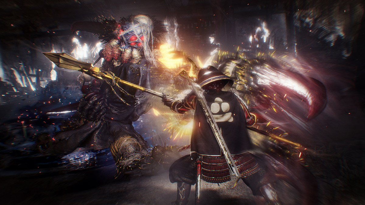 Nioh 2 Screenshot: facing off against a blue spider-like humanoid demon with multiple red faceted eyes and spiny claws.
