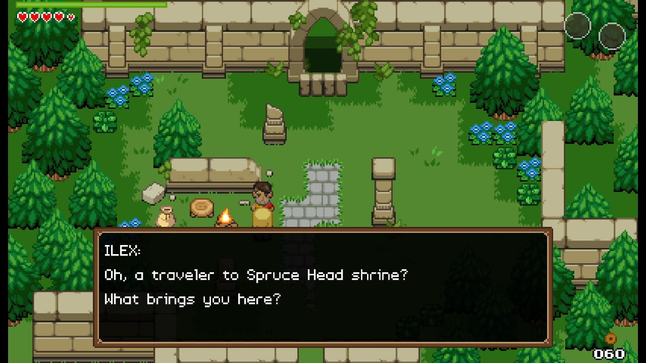 Ocean's Heart screenshot featuring the protagonist talking to a local outside a shrine.
