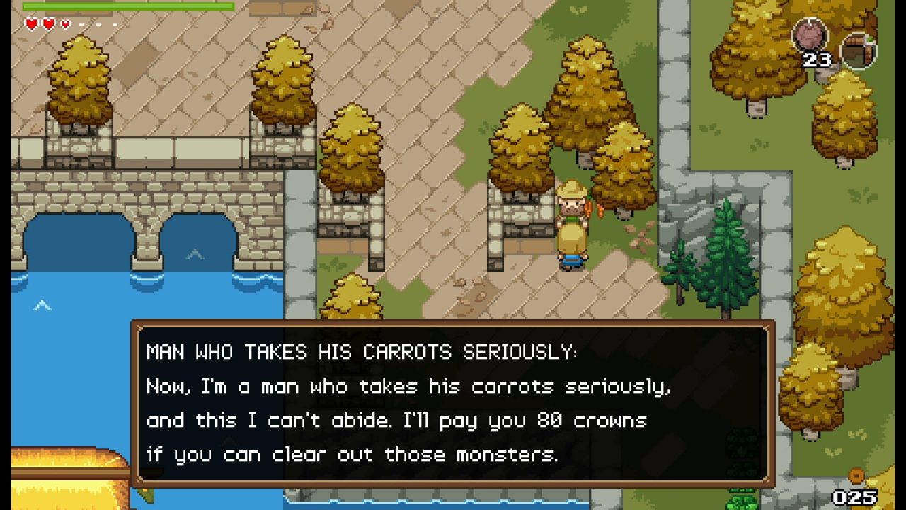 Talking to an NPC in a field that definitely, clearly takes his carrots seriously.