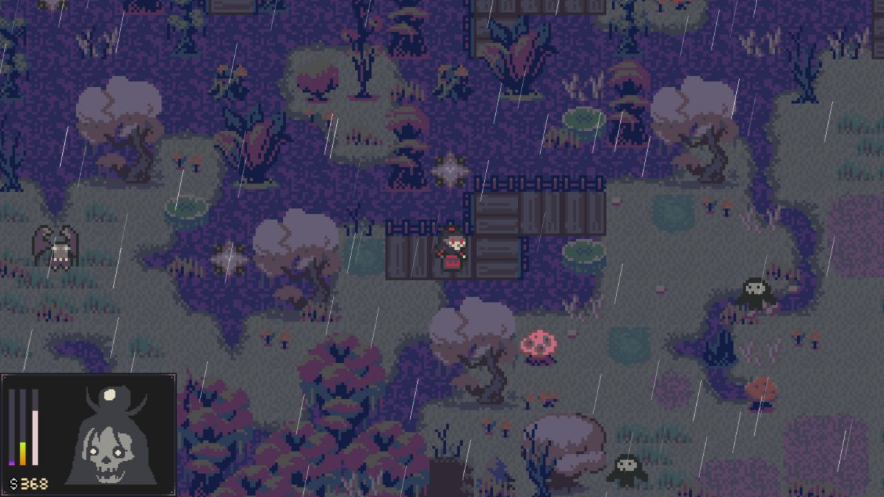 The main character roams through the swamp.